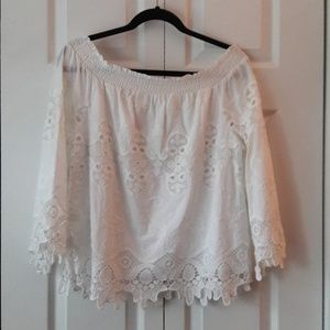 Chico's lace off shoulder top -EUC